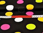 Ткань хлопковая с крупными цветными горохами на чёрном фоне (№ 836), фото 2