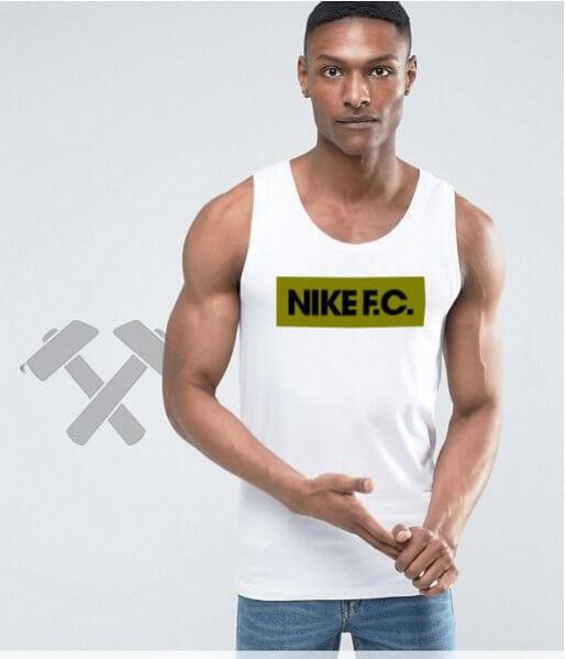 Мужская майка Nike F.C. белого цвета с зеленым логотипом