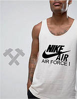 Мужская майка Nike Air Force белого цвета с черным логотипом, фото 1