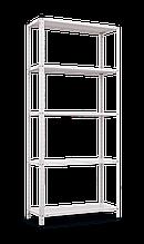Стеллаж РЕК-2 (1700х750х300), на болтовом соединении, крашеный белый, 5 полок (металл), 35 кг/полка