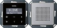Радиоприемник скрытого монтажа с функцией RDS с динамиком Gira E22 Алюминий (2280203)
