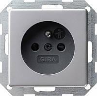 Розетка со штырьевым з/к с защитой от детей Gira E22 Алюминий (485203)
