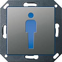"""Светодиодный указатель для ориентации с пиктограммой """"Туалет М"""" Gira E22 Сталь (279220)"""