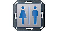 """Светодиодный указатель для ориентации с пиктограммой """"Туалет М/Ж"""" Gira E22 Алюминий (2791203)"""