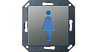 """Светодиодный указатель для ориентации с пиктограммой """"Туалет Ж"""" Gira E22 Сталь (279320)"""