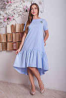 Льняное женское платье ассиметрия р.46-48 Y287-2