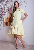 Льняное женское платье ассиметрия р.46-48 Y287-3