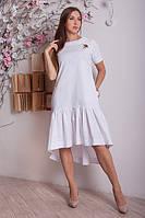 Льняное женское платье ассиметрия р.46-48 Y287-4