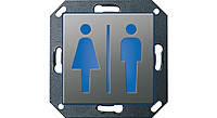 """Светодиодный указатель для ориентации с пиктограммой """"Туалет М/Ж"""" Gira E22 Сталь (279120)"""