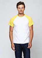 Футболка мужская реглан, бело желтый