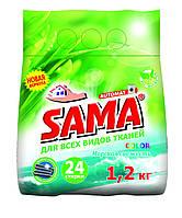 Порошок стиральный без фосфатов автомат,SAMA 1,2 кг (морская свежесть)