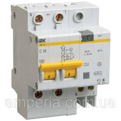 IEK Дифференциальный автомат АД12М 2P B16 30мА (MAD12-2-016-B-030)
