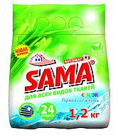 Порошок стиральный без фосфатов автомат,SAMA 1,2 кг (горная свежесть)