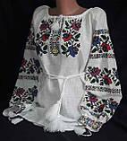 Женская вышиванка на натуральном выбеленном льне Казкова, фото 2