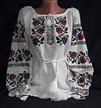 Женская вышиванка на натуральном выбеленном льне Казкова, фото 3