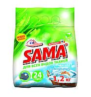 Порошок стиральный без фосфатов автомат White, SAMA 1,2 кг