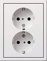 Двойная розетка с заземлением и защитой от детей Gira F100 Белый (783112)