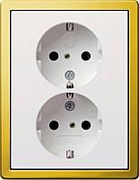 Двойная розетка с заземлением и защитой от детей Gira F100 Белый Латунь (783116)