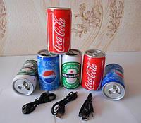 Портативный динамик Банка (Пиво, Coca Cola, Fanta, Sprite)!Опт