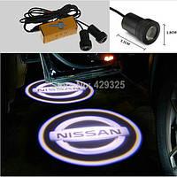 LED логотип в двери автомобиля Nissan Дверной логотип марки авто