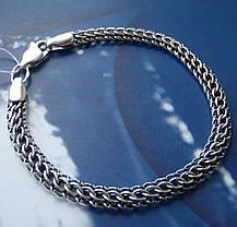 Серебряный браслет, 210мм, 11 грамм, Питон, чернение, фото 2
