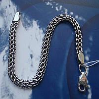 Серебряный браслет, 210мм, 9,5 грамма, плетение Питон, чернение