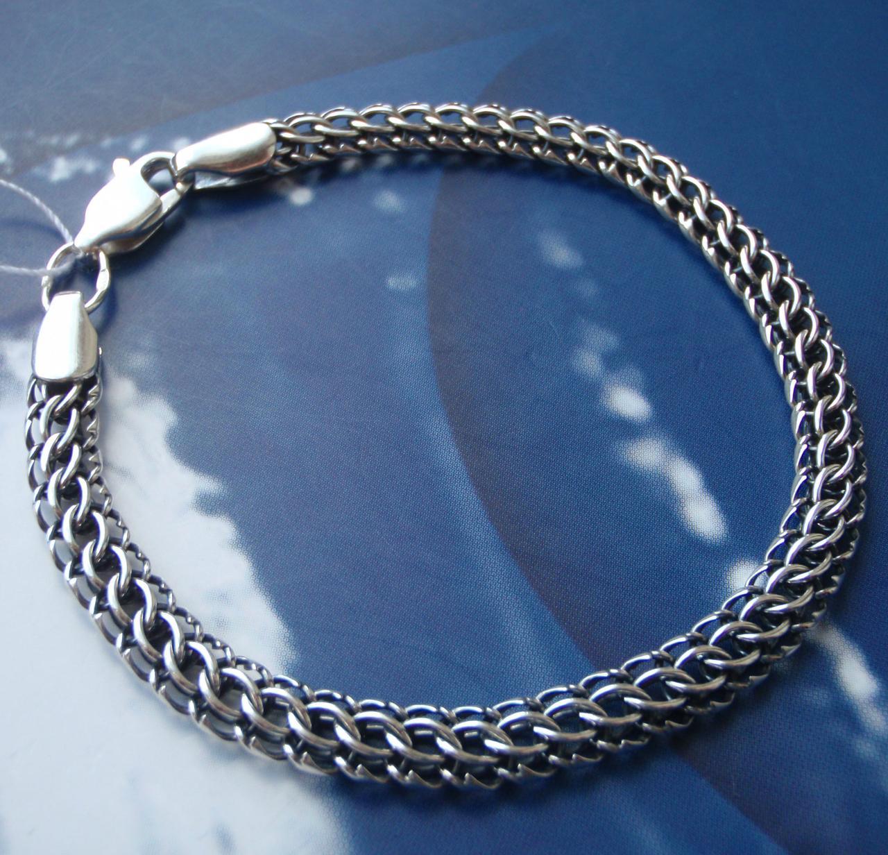 Серебряный браслет, 195мм, 9 грамм, плетение Питон, чернение