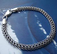 Серебряный браслет, 215мм, 9 грамм, плетение Питон, чернение