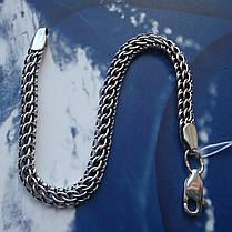 Серебряный браслет, 195мм, 9 грамм, плетение Питон, чернение, фото 2