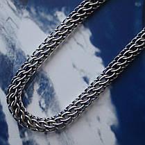 Серебряный браслет, 195мм, 9 грамм, плетение Питон, чернение, фото 3