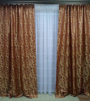 """Комплект штор """"Неаполь"""" Янтарно-коричневый, фото 2"""