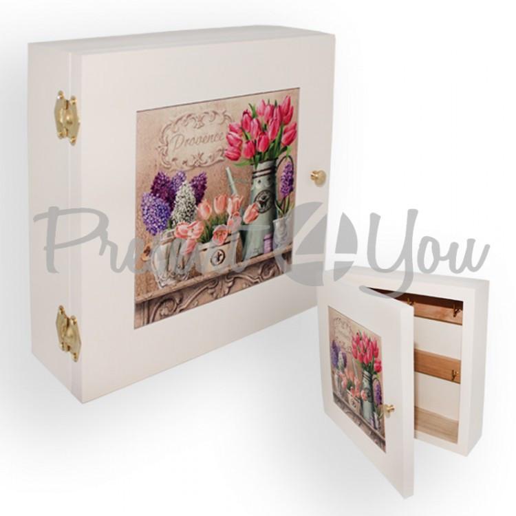 Ключница с дверками «Прованс. Тюльпаны», 7,5х23х23 см (263-9308W)