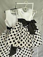 Детское платье  черный горох на белом разм.68-74 ( с подъюбником)