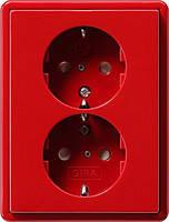Двойная розетка с заземлением и защитой от детей Gira S Color Красный (078343)