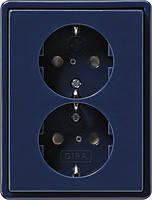 Двойная розетка с заземлением и защитой от детей Gira S Color Синий (078346)