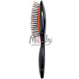 Salon Prof. Расческа массажная малая 8448 EB черная, белая прямая металл, фото 2