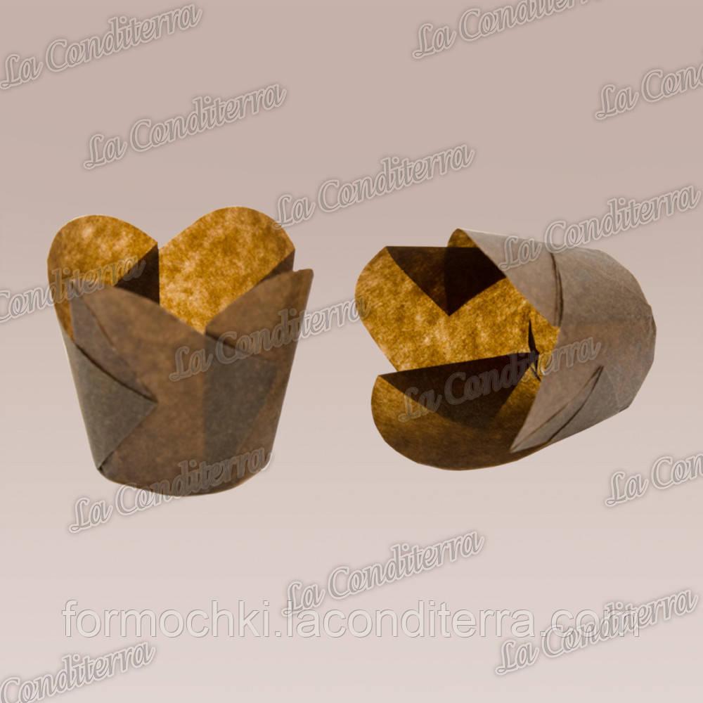 """Паперові формочки для кексів """"Фіалка"""", коричневі (150 шт., d=35 мм, висота бортика=35/45 мм)"""