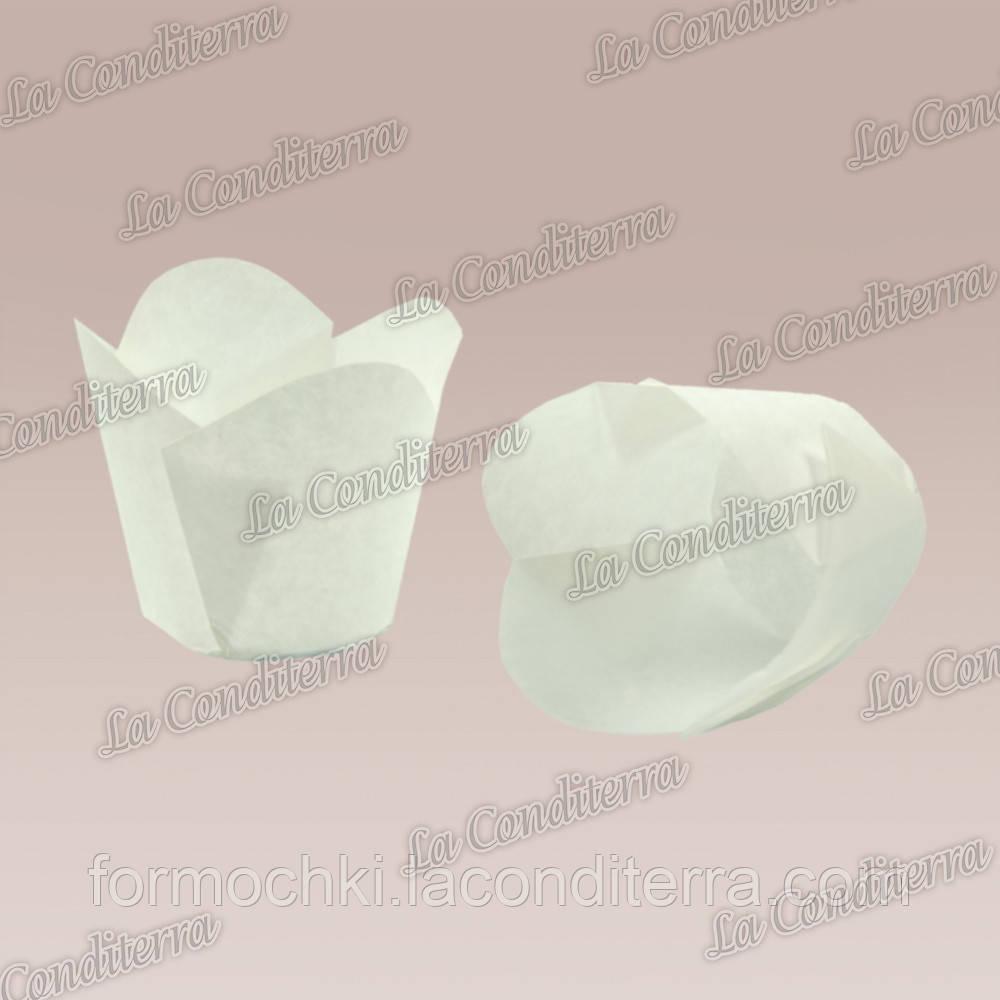 """Паперові формочки для кексів """"Фіалка"""", білі (150 шт., d=35 мм, висота бортика=35/45 мм)"""