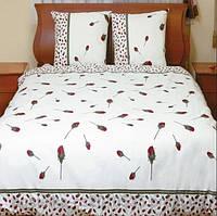 Белое постельное белье с розочками (полуторка)