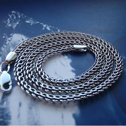Серебряная цепочка, 500мм, 22 грамма, плетение Питон, чернение, фото 2