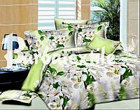 Полуторное постельное белье из ранфорса зеленого цвета