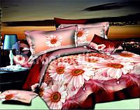 Полуторное постельное белье с герберами из ранфорса