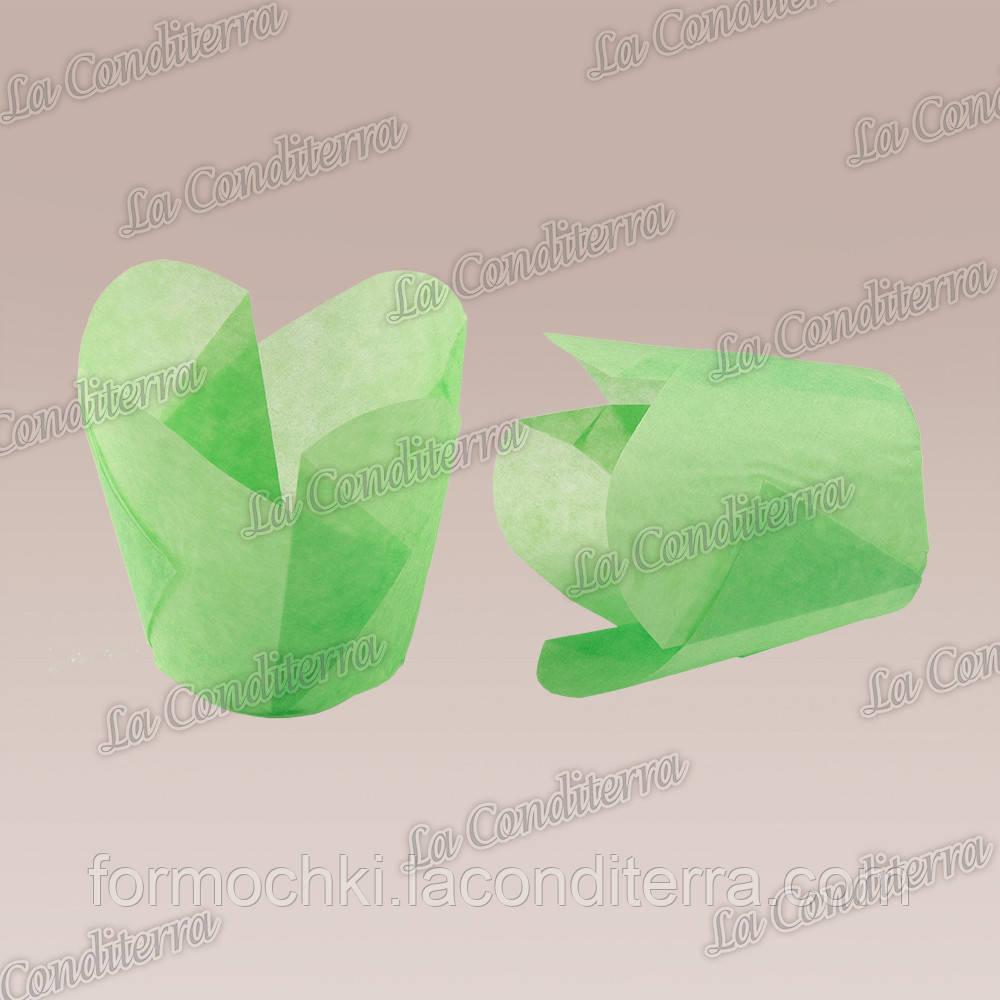 """Паперові формочки для кексів """"Фіалка"""", зелені (150 шт., d=50 мм, висота бортика=60/70 мм)"""