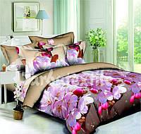 Полуторное постельное белье с цветочками из ранфорса