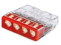 Клемма WAGO на 4 провода самозажимная пружинная прозрачная/красная с пастой (2273-244)