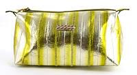 Женская кожаная яркая лаковая стильная косметичка MORO art. MR-41 серебро/лимон широкая