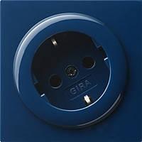 Розетка с з/к со вставкой повернутой на угол 30° вертикальная Gira S Color Синий (044846)