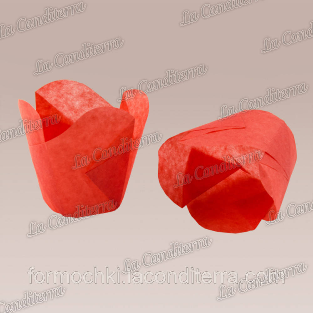 """Паперові формочки для кексів """"Фіалка"""", червоні (150 шт., d=50 мм, висота бортика=60/70 мм)"""