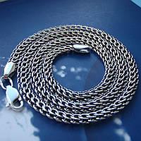 Серебряная цепочка, 550мм, 21 грамм, плетение Питон, чернение