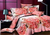 Постельное белье сатиновое двуспальное с букетом роз 3д